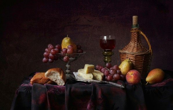 Picture style, background, wine, glass, cheese, bread, grapes, fruit, still life, pear, peach, a glass of …