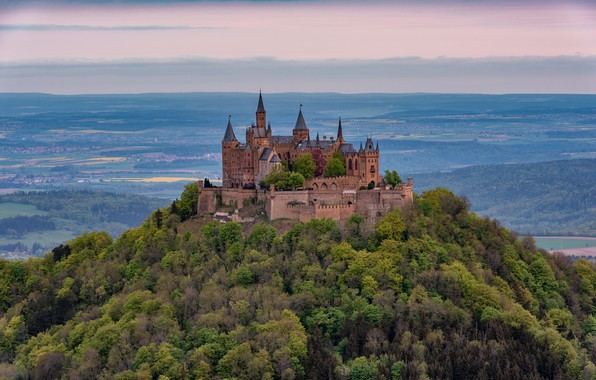 Picture forest, the sky, clouds, trees, mountains, castle, view, height, Germany, hill, architecture, settlement, vintage, Hohenzollern, …