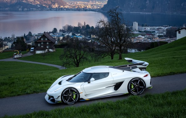 Picture water, mountains, home, Koenigsegg, hypercar, Jesko