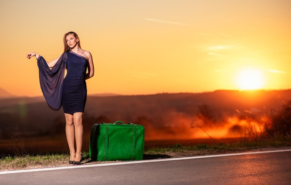 Picture road, girl, suitcase