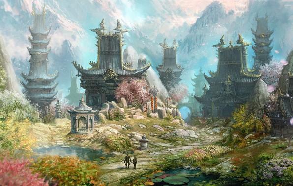 Picture trees, flowers, mountains, haze, legends, summer day, myths, сказания, фентези мир, тайное царство, китацские дворцы, …