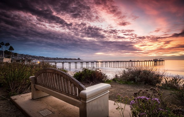 Picture sea, the sky, clouds, sunset, bench, coast, horizon, CA, pierce, USA, the bushes, La Jolla
