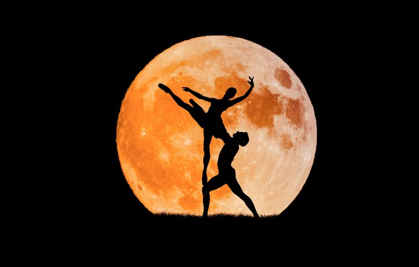 Picture dance, The moon, silhouette, ballet