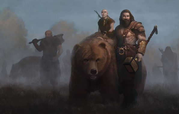 Picture background, fiction, bear, art, male