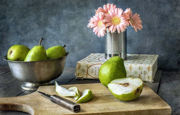 Photo wallpaper book, bowl, gerbera, pear, wood, cutting Board