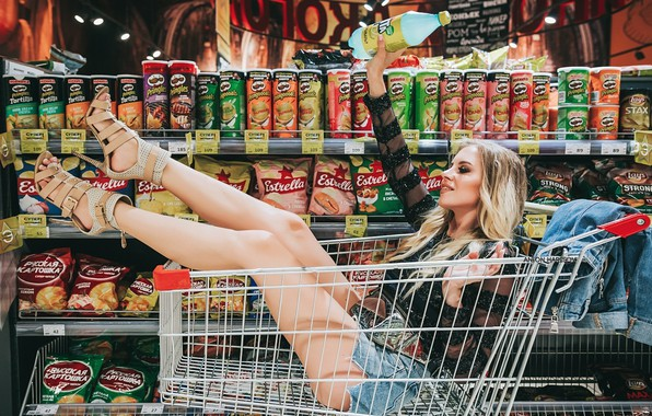 Picture sexy, pose, bottle, skirt, makeup, hairstyle, blonde, shoes, blouse, truck, legs, beauty, shelves, chips, dzhinsovka, …