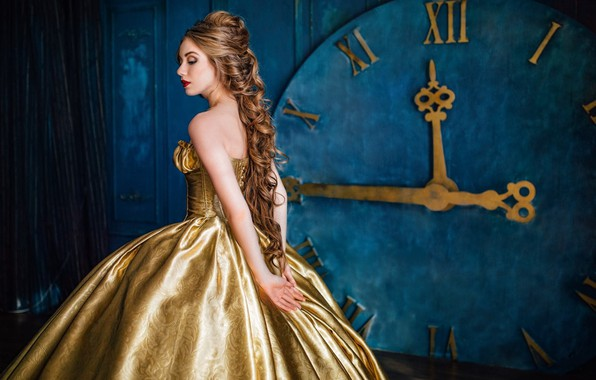 Picture look, girl, pose, photo, model, watch, dress, hairstyle, Evgeniya Litovchenko, Yuliya Lunina