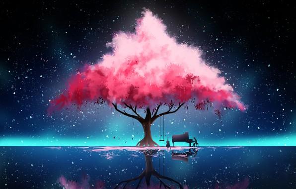 Picture Reflection, Tree, Night, Music, Stars, Fantasy, Art, Concept Art, Hinkos Eigeiter, by Hinkos Eigeiter, Pianist, …