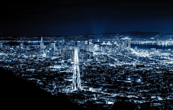 Picture city, lights, night, San Francisco, blue night