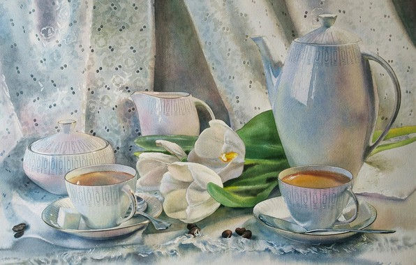 """Picture watercolor, still life, painting, """"Still life with tulips"""", gentle paint, the artist Lyubov Titova"""