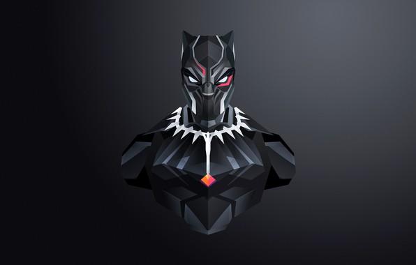 Picture mask, art, costume, black background, comic, MARVEL, Black Panther, Black Panther