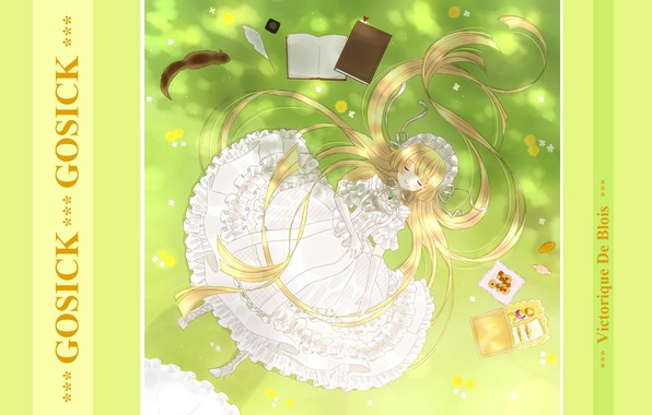 Picture books, sleep, protein, sleeping, girl, sweets, white dress, long hair, on the grass, ruffles, gloves …