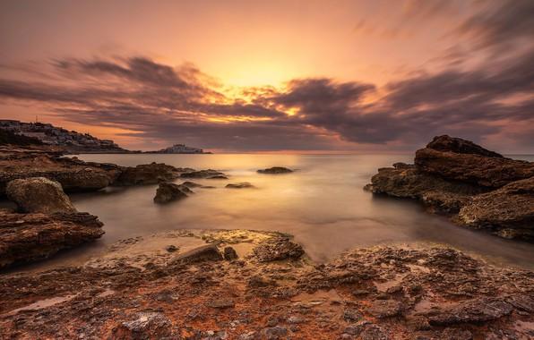 Picture sunset, coast, Spain