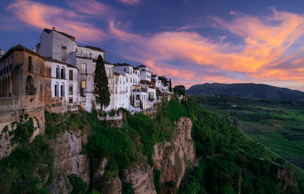 Picture landscape, sunset, mountains, the city, rocks, home, gorge, Spain, Andalusia, Rhonda