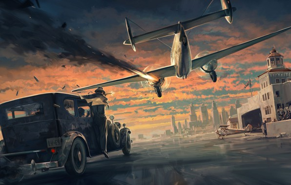 Picture The sky, Clouds, The city, Machine, The building, Art, The airfield, The plane, Mafia, Definitive …