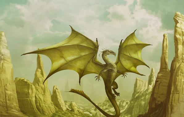 Picture mountains, fantasy, dragon, art, Corona, Godfrey Escota