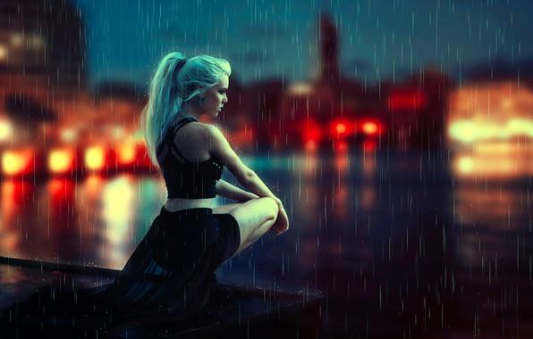 Picture girl, night, rain, mood, squat