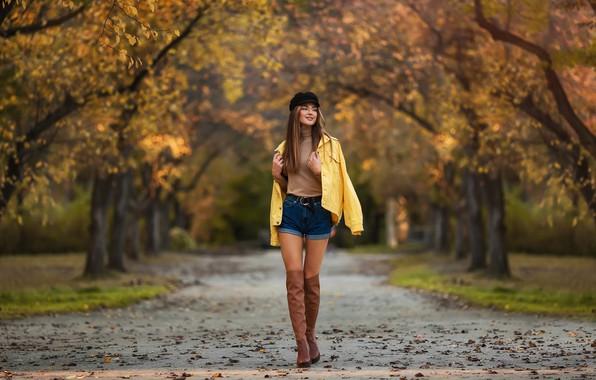 Picture trees, Girl, track, boots, Xenia, Anastasia Barmina