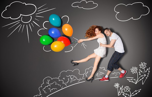 Picture girl, balls, creative, figure, dress, pair, male, lovers