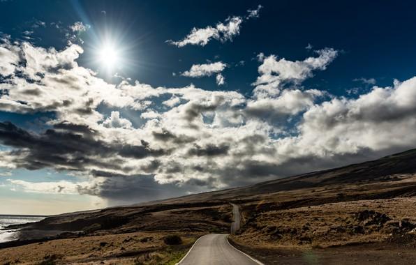 Picture road, sea, shore, morning