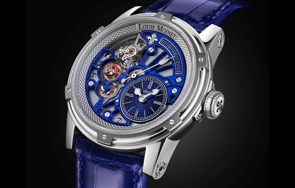 Picture blue, Louis Moinet, watch analog, Tempograph