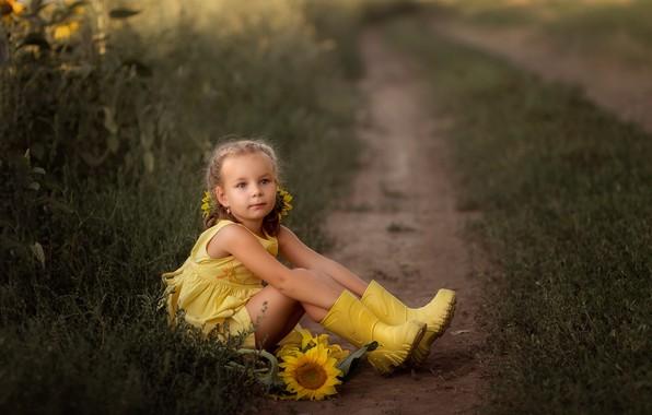 Picture road, field, summer, sunflowers, flowers, nature, boots, dress, girl, child, Irina Zuboreva