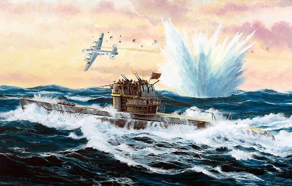 Picture Submarine, submarine, submarine, Navy, Kriegsmarine, Navy, Type VII-C/41