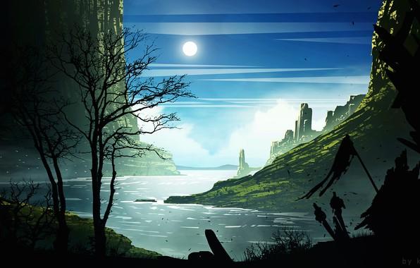 Picture mountains, castle, the moon, warrior, Border Castle City