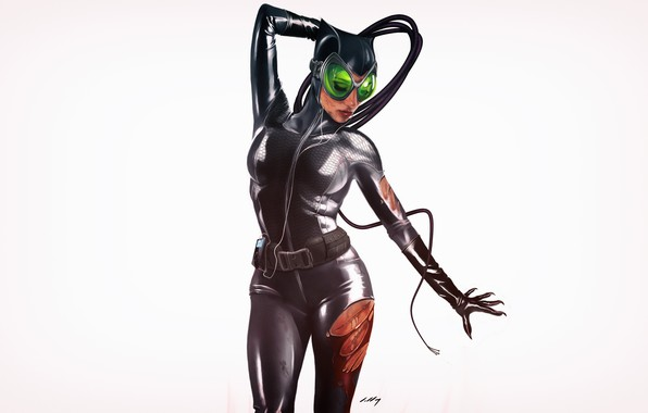 Picture Minimalism, Figure, Cat, Costume, Background, Latex, Comic, Art, Art, Cat woman, Comics, DC Comics, Catwoman, …