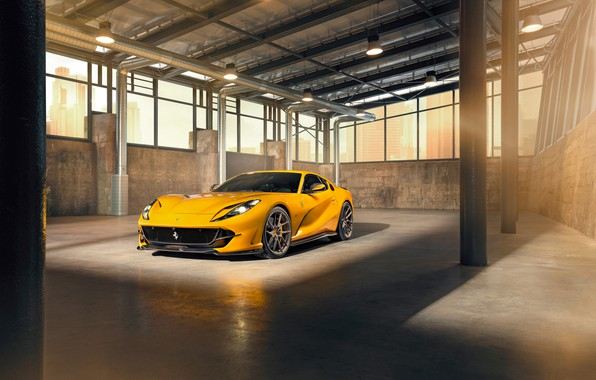 Picture machine, light, yellow, lamp, Windows, Ferrari, stylish, sports, Superfast, 812, by Novitec