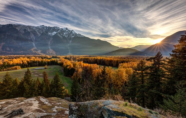 Picture autumn, forest, sunset, mountains, valley, Canada, Canada, British Columbia, British Columbia, Mount Curry, Pemberton Valley, …