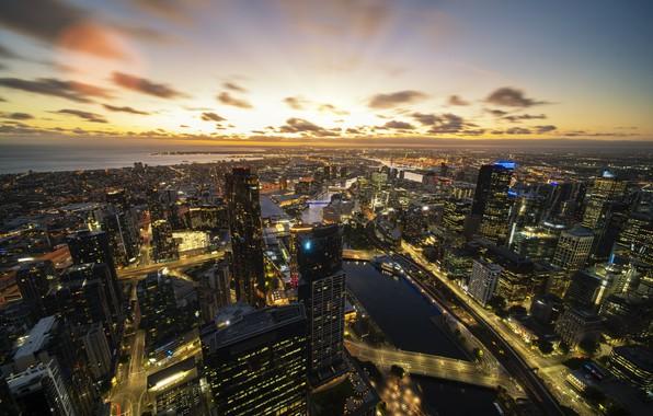 Picture sunrise, architecture, downtown, australia, melbourne