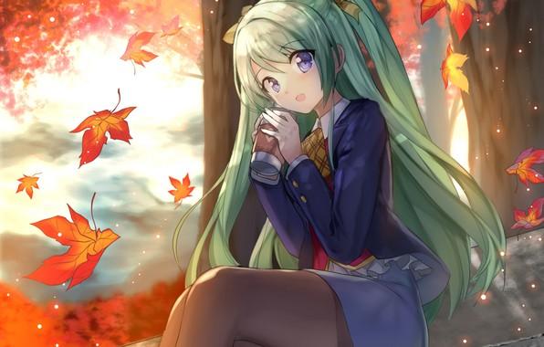 Picture autumn, girl, Hatsune Miku, Vocaloid, Vocaloid, Hatsune Miku
