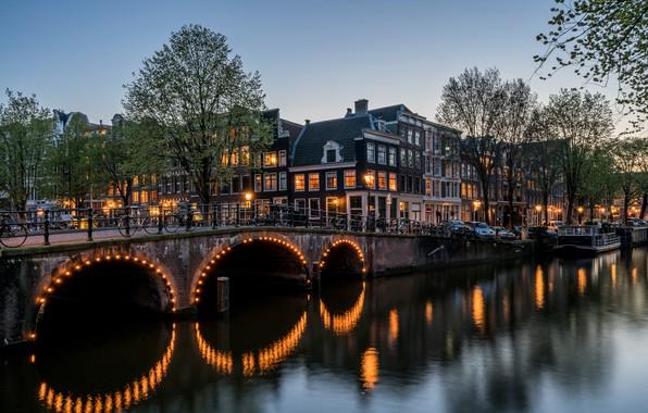 Picture water, bridge, Windows, building, the evening, Amsterdam, channel, Keizersgracht
