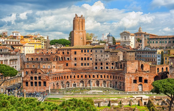 Picture the sky, the sun, clouds, trees, the city, building, home, Rome, Italy, architecture, Trajans Market
