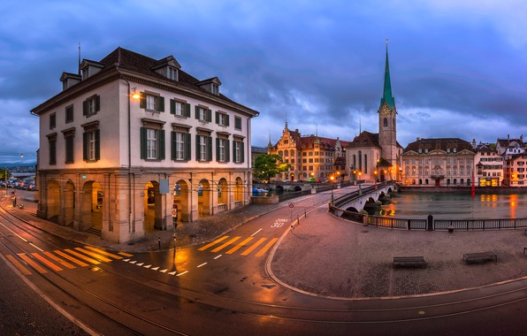 Picture road, the city, river, building, home, the evening, Switzerland, lighting, area, Church, Zurich