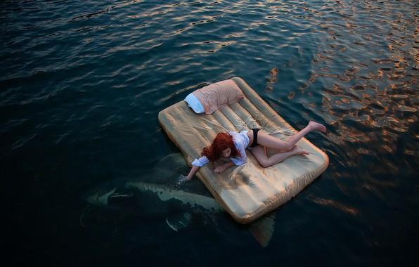 Picture sea, girl, fish