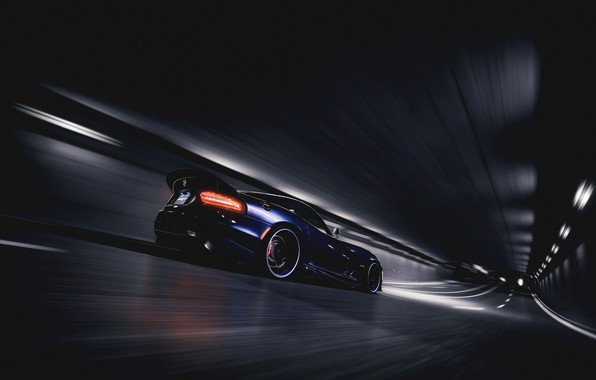 Picture Auto, Blue, Machine, Movement, Dodge, NFS, The tunnel, Viper, Dodge Viper, SRT Viper GTS, Blind ...