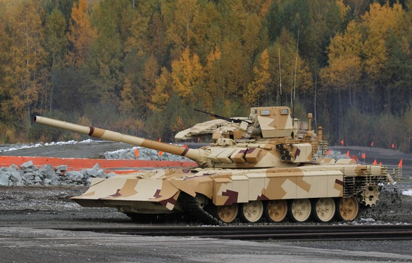 Picture polygon, T-72, demonstration, Tank of the Russian Federation, lattice screens, modular dynamic protection, with the …