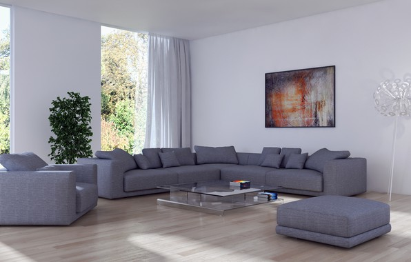 Picture flower, sofa, lamp, interior, picture, chair, pillow, table, living room