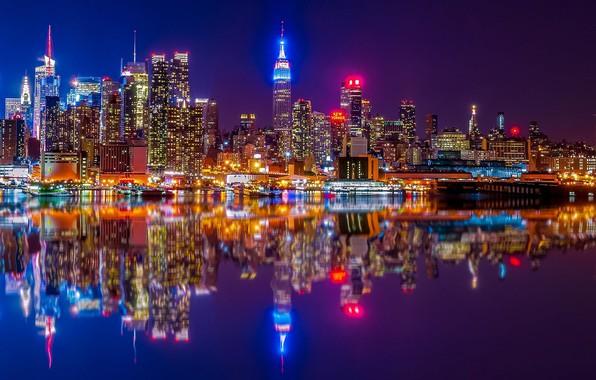 Picture reflection, river, building, home, New York, night city, Manhattan, skyscrapers, Manhattan, New York City, Hudson …