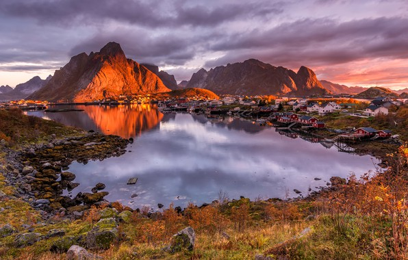 Picture autumn, clouds, light, landscape, sunset, mountains, nature, reflection, stones, shore, vegetation, the evening, Norway, houses, ...