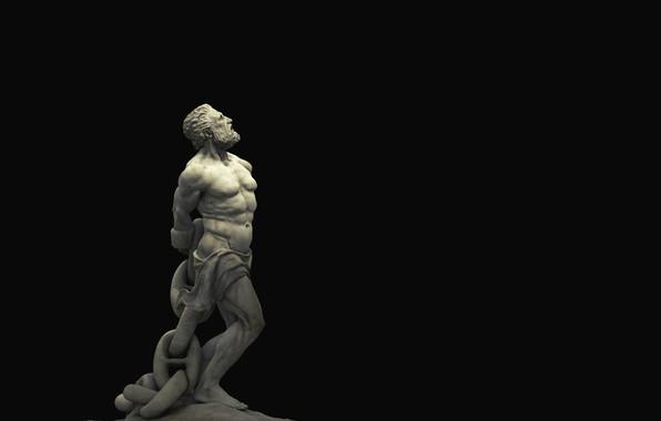 Picture statue, sculpture, black background, philosophy, black background, statue, sculpture, chained, philosophy, unbroken, закованный в цепи, …