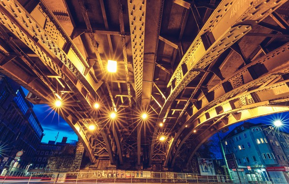 Picture bridge, Steel snapper, railway underpass, Bochum