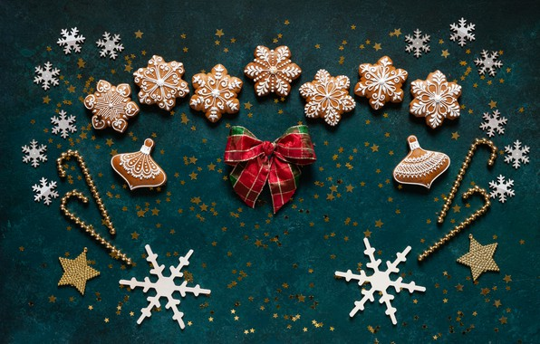 Picture snowflakes, Christmas, New year, bow, gingerbread