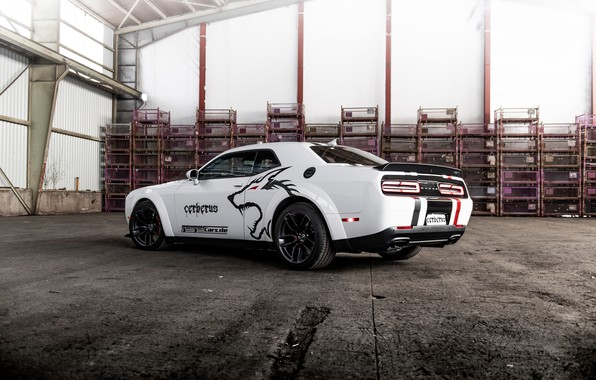 Picture white, back, Dodge, Challenger, side, GeigerCars, 2019, SRT Hellcat Cerberus