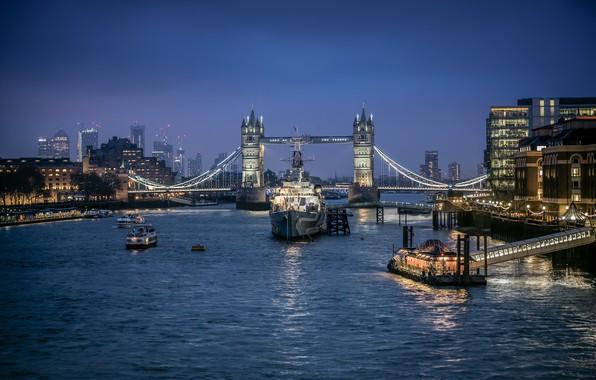 Picture bridge, lights, river, England, London, ships, Thames, Tower bridge