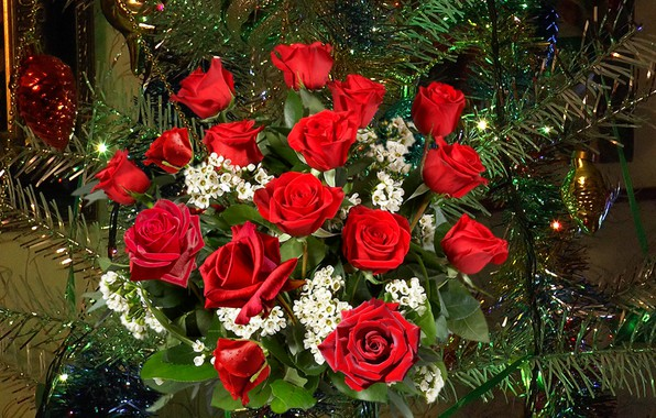 Picture roses, bouquet, New year, tree