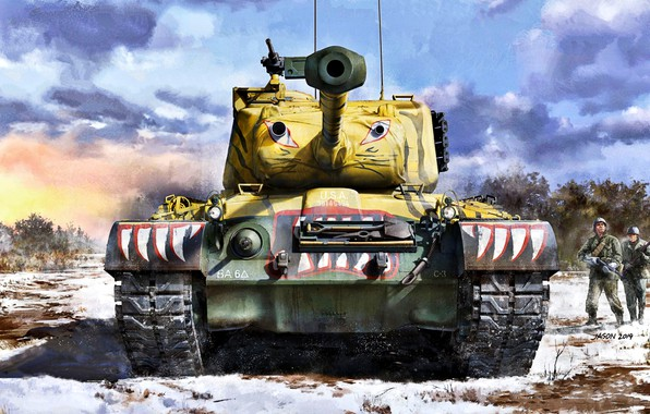 Picture Snow, Soldiers, USA, Tank, US Army, Patton, The Korean war 1950-1953, M46