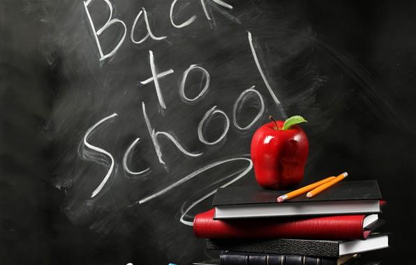 Picture background, the inscription, books, Apple, pencils, Board, school, Mel, study, Back to school
